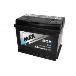 Akumulators 62Ah/580A EFB (Labais+ Standarta) 242x175x190