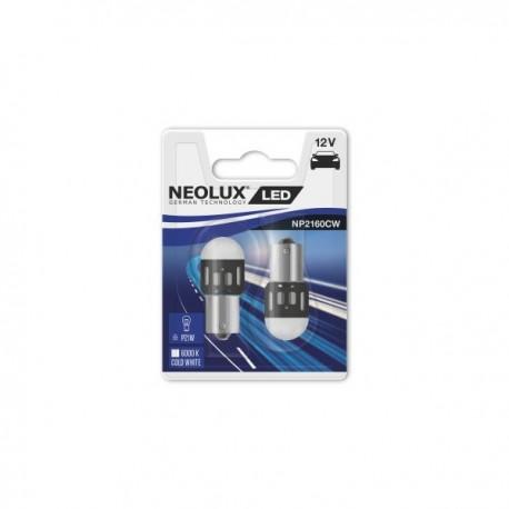 NEOLUX 1.2W (P21W) 12V LED spuldze Cool White (balta gaisma) BA15s blister 2gab. Vienkontaktu